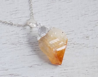 November Birthstone, Citrine Necklace, Raw Citrine Necklace, Citrine Crystal, Citrine Pendant, Silver Layer Necklace, Christmas Gift, 8-652