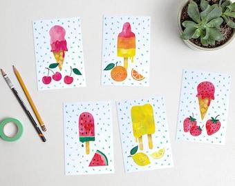 Ice cream watercolor postcards summer fruit / ansichtkaarten - set of 5 - design by Heleen van den Thillart