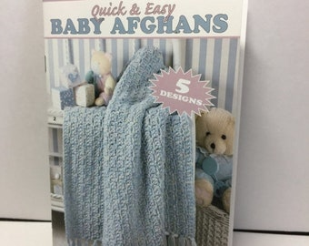 ON SALE Leisure Arts, Little Book, Quick, Easy, Baby Afghans, Crochet Instruction Pattern Book 5 Crochet Designs, Baby Shower Gift, Ripple A