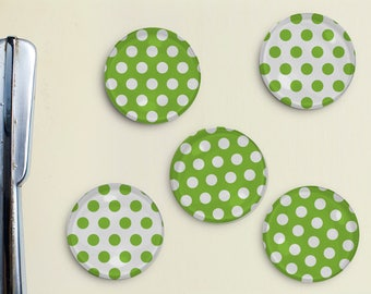 Polka Dot Magnets - Dots, Pattern, Lime Green, Office, Organization, Home Office, Refrigerator, Fridge, Father's Day Gift, Gift for Dad