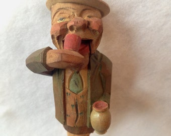 Anri Wood Carved Mechanical Drinking Man Cork