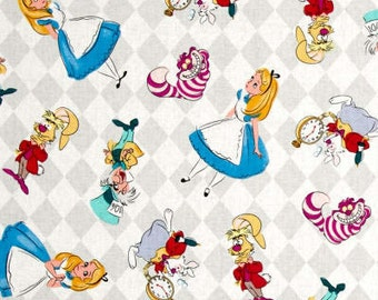 Disney Classics Alice And Friends Allover Wonderland Cheshire Cat Mad Hatter White Rabbit March Hare Cotton Fabric by Springs Creative