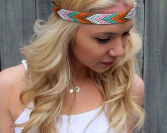 Chevron Arrow Coachella Headband Pink Mint Brown White Woven Bohemian HairBand Hippie Tribal Native Band
