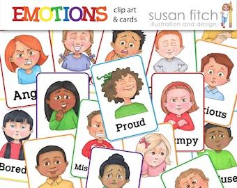 EMOTIONS clip art & cards