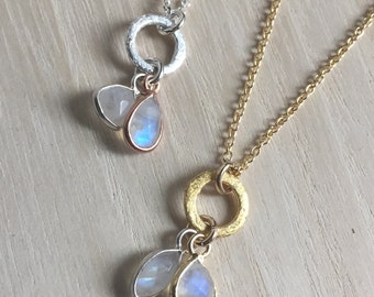 Gold and Silver Double Moonstone Pendant