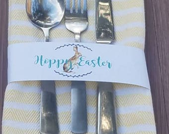 Colorful chevron wreath Easter bunny or watercolor chick napkin ring utensil wraps | brunch dinner|He is Risen cross place setting |SET OF 6