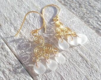 Boho Elegance / Sea Glass Earrings / Chandelier Earrings / Sea Glass / Gold Vermeil / Spirals / Beach Wedding / Bridal Jewelry / Bohemian