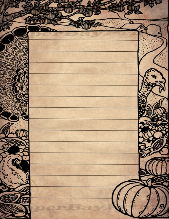 Printable Writing Paper Vintage Thanksgiving Border Old Scrapbook Background Lined Template Instant Download