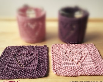 PDF-pattern Coasters Knitting Pattern coaster Instant Download PDF file How to Knit coaster AnaValenArt Valentine's day décor DIY