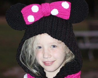 Crocheted Minnie inspired Hooded Cowl Scarf/ Made to order in size infant to adult