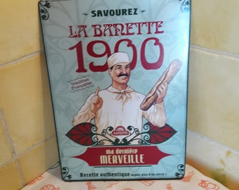 Plate metal, reproduction advertising 1900 banette, advertising, French tradition.