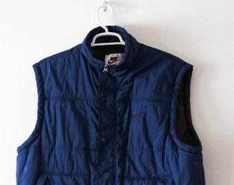 50% CLEARANCE SALE Nike Vintage Dark Blue Puffy Vest. Sz L.  1990s