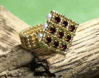 Ruby Red Beaded Ring Red and Gold Ring Ruby Gold Ring Square Beaded Ring Peyote Ring Beadwork Ring Square Crystal Ring Seed Beaded Ring