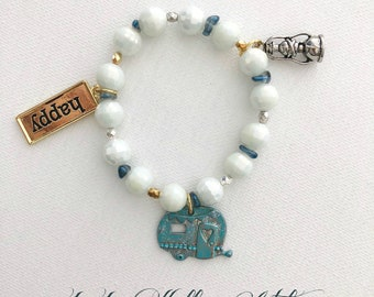 WHIMSICAL HAPPY CAMPER Stretch Charm Bracelet with Camper, Happy and Lantern Charms