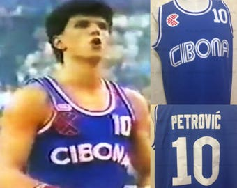 Drazen Petrovic Euroleague Cibona Zagre 1985 design throwback jersey New Jersey Nets
