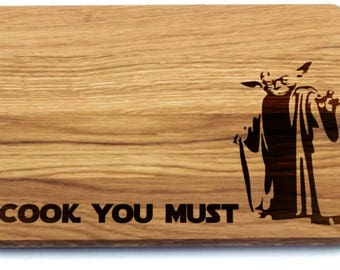 cook you must star wars yoda bamboo cutting board