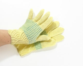 Hand Knitted Gloves - Yellow, Size Medium