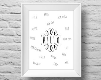 HELLO in 17 languages unframed art print, Typographic poster, multilingual, wall decor, quote art. (R&R0005)