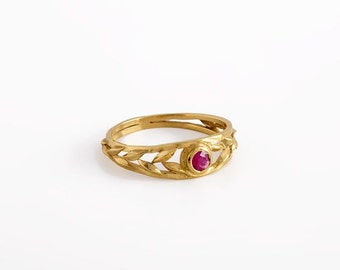 Gold Ruby ring, Ruby engagement ring, Red Ruby ring, Gold ring with stone, July birthstone ring