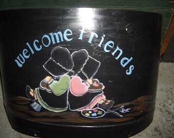 Hand painted stovepipe.. Amish Welcome Friends