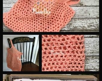 Handmade French Farmers Market Tote Bag Cotton Reusable Produce Grocery Shopping Boho Carry All Sack Mesh Beach Bag Crochet Choice of Colors