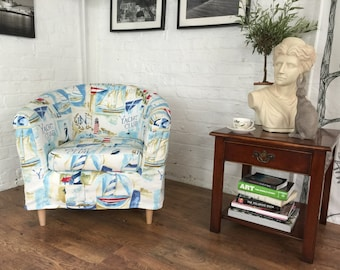 Ikea Tullsta Tub Chair Cover in Cobalt Yacht Cotton Fabric