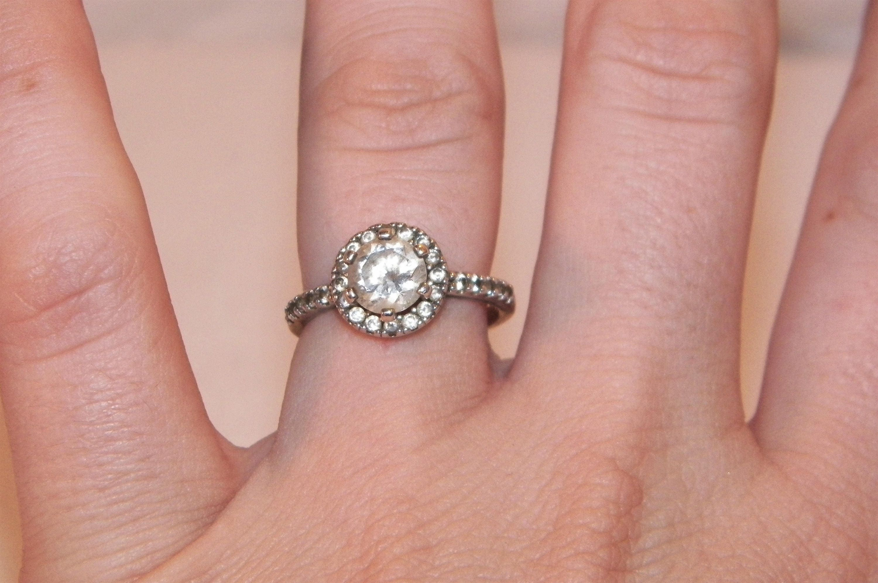 Sterling Silver size 7 1/4 wedding ring engagement ring