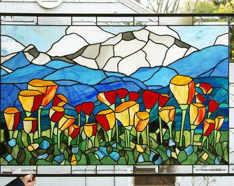 """Stained Glass Window Panel--Mountain Scenic California Poppies- 41"""" x 26.75"""""""