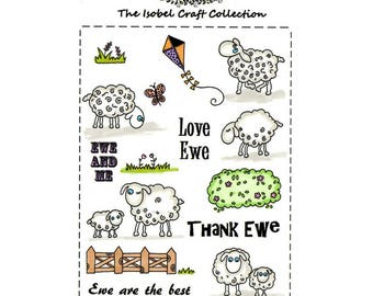 A6 set of photo-polymer clear stamps - SHEEP DESIGN