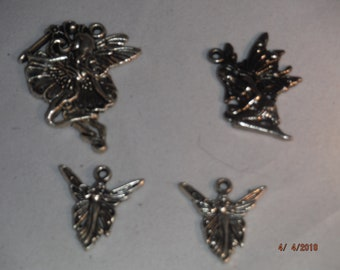 Lot of 4 metal FAIRY FAERIE silver colored charms -- KCDestash