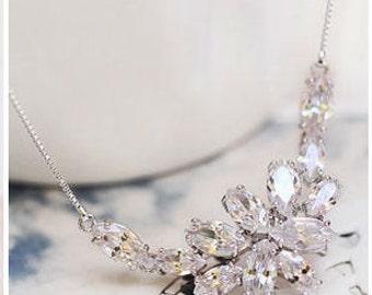 Bridal Necklace | Weeding Necklace | Bridesmaid Necklace | Bridal Jewelry | Bridesmaid Jewelry | Crystal Necklace