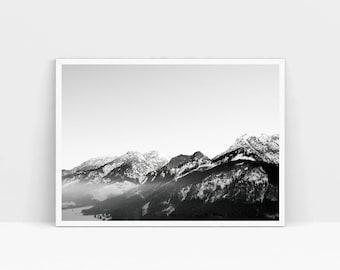 Black White Mountain Monochrome Decor Scandinavian Art Mountains Print Instant Download Digital Art Print Landscape Print Mountains A4