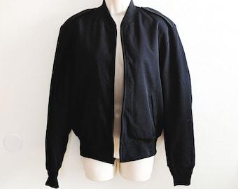 Vintage Black Bomber Jacket, Casual Black Jacket