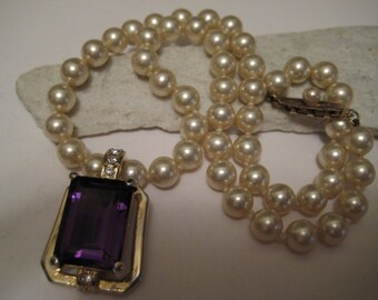 Vintage Cultured White Pearl  Amethyst Enhancer  Necklace With 925 Sterling Silver Clasp