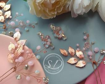 Rose gold hair vine Blush Pink Haarschmuck Bridal Hair Pins and earrings set Boho Rustic wedding Wedding hair acces Wedding Jewelry set