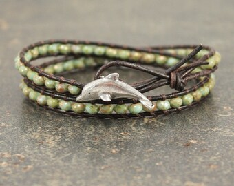 Green Dolphin Bracelet Delicate Double Leather Wrap Bracelet Rustic Dolphin Jewelry