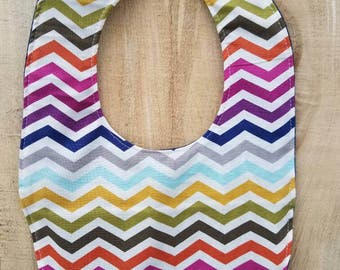 Denim Baby Bib - Rainbow Chevron