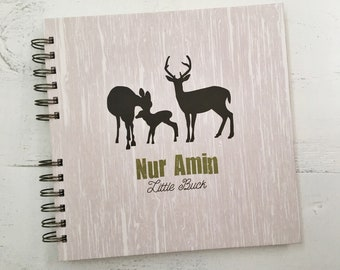 Baby Book |  Baby Memory Album | Deer Family Personalized Wire Bound Baby Memory Book Keepsake Album