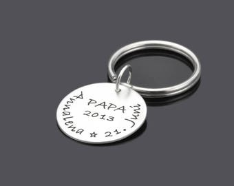 Key ring with engraving father lucky 925 Silver Pendant children name mens jewelry
