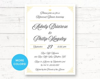 Elegant Fairytale Rehearsal Dinner or Engagement Party Printable Invitation, Princess, Crown, Once Upon a Time Custom Printable Invite