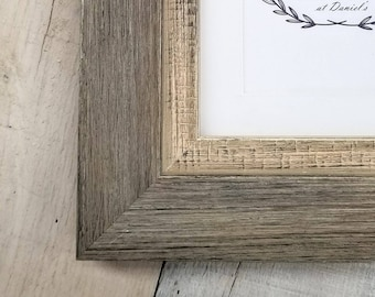 Miramar Large Distressed Driftwood Wood Picture Frame with White Mat 8x10, 9x12, 11x14, 14x16, 16x20, 18x24 with custom sizes available.