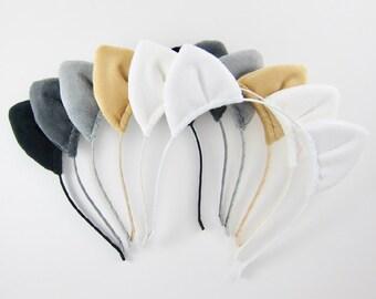 Cat Ears Headband Plush Fabric Kitten Ears Headband Choose Color
