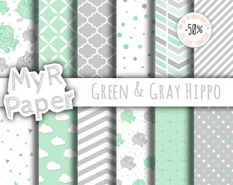 """Hippopotamus digital paper: """"Green & Gray Hippo """" scrapbooking - pastel - perfect for Baby Shower, invites, cards - Instant Download"""