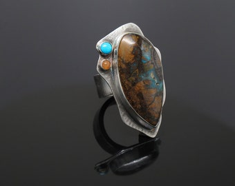 Chunky Silver Ring w/ Michigan Copper, Sleeping Beauty Turquoise & Peach Moonstone, Handmade Boho Gemstone Wide Band Big Ring, One of A Kind