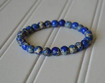 Men's Blue Beaded Stretch Bracelet