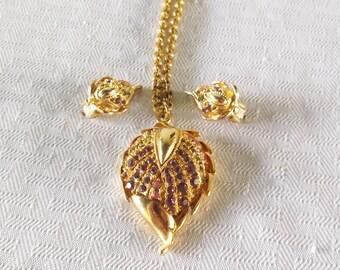 1960s Vintage Necklace and Earrings Demi Parure Jewel Tone Rhinestone Leaves