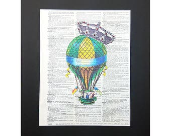 Crowned Vintage Air Balloon on Vintage Dictionary Page Art Print, Wall Decor, Digital Manipulation with Sparks of Glitter,