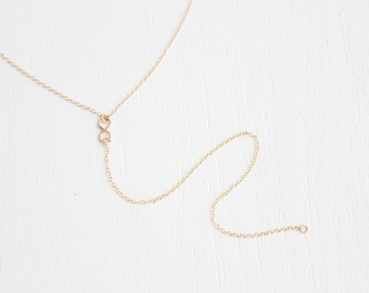 Long Infinity Lariat Necklace - 14k Gold Filled or Sterling Silver - Mischka