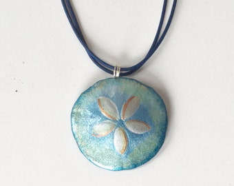 Hand painted Sand dollar Necklace