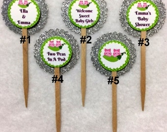 Set Of 12 Personalized Two Peas In A Pod Girl Twins Baby Shower Cupcake Toppers (Your Choice Of Any 12)
